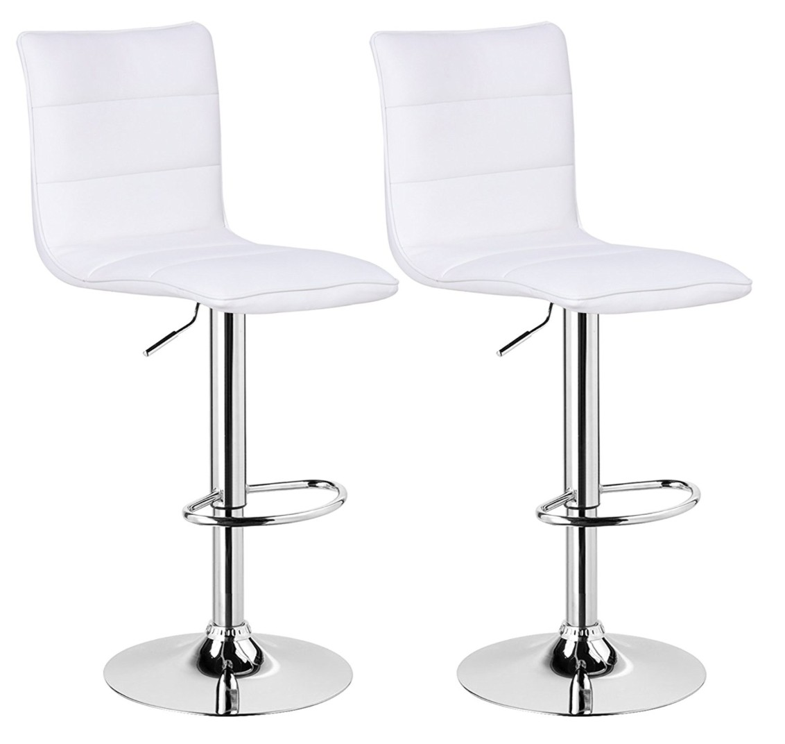 tabouret haut dossier simili blanc prezide lot de 2. Black Bedroom Furniture Sets. Home Design Ideas