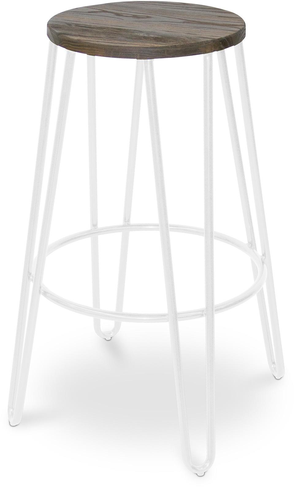 tabouret m tal blanc et assise bois fonc coffee. Black Bedroom Furniture Sets. Home Design Ideas