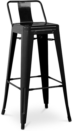 tabouret m tal brillant avec petit dossier noir industriel 60 cm. Black Bedroom Furniture Sets. Home Design Ideas