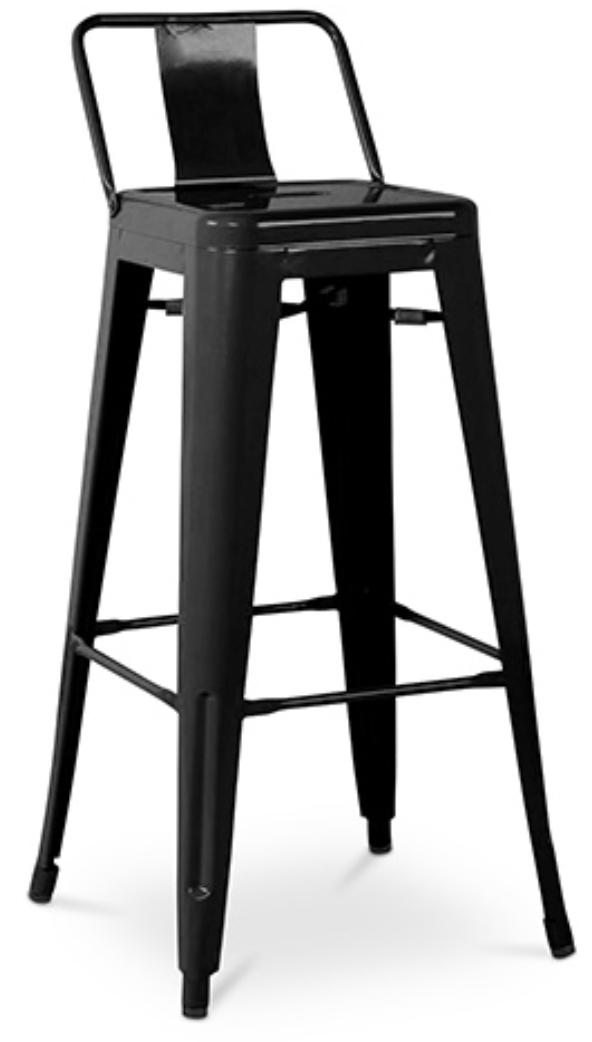 tabouret m tal brillant avec petit dossier noir industriel. Black Bedroom Furniture Sets. Home Design Ideas