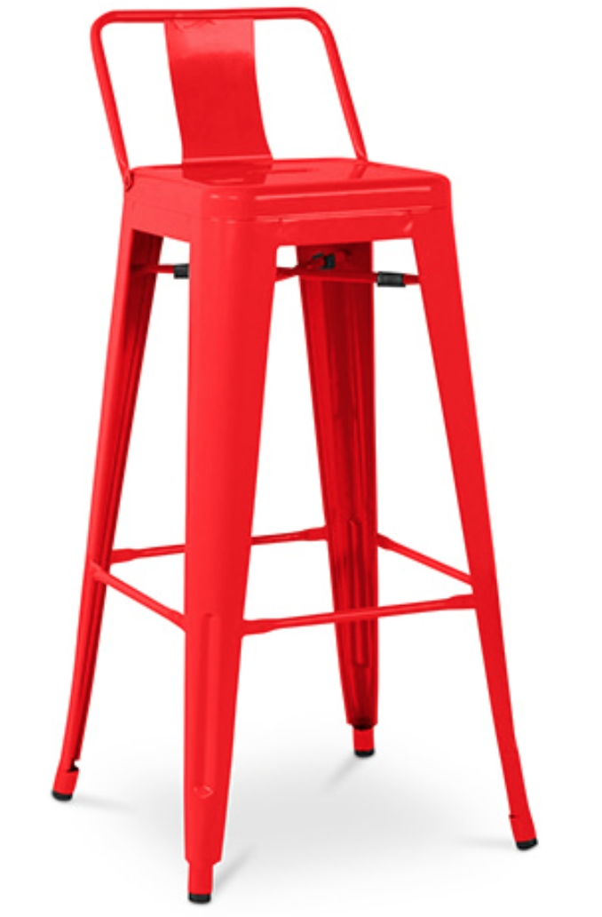 tabouret m tal brillant avec petit dossier rouge industriel. Black Bedroom Furniture Sets. Home Design Ideas