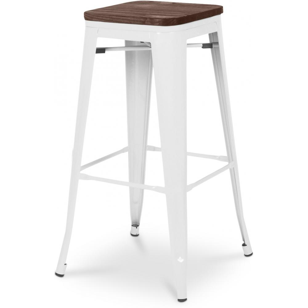 tabouret m tal brillant blanc et assise bois inspir xavier pauchard 76 cm. Black Bedroom Furniture Sets. Home Design Ideas