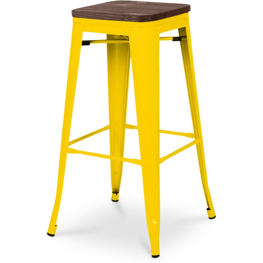 tabouret m tal brillant jaune et assise bois inspir xavier pauchard 76 cm. Black Bedroom Furniture Sets. Home Design Ideas