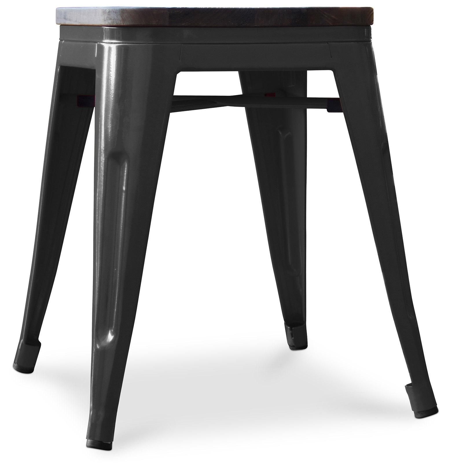 tabouret m tal brillant noir assise bois industri. Black Bedroom Furniture Sets. Home Design Ideas