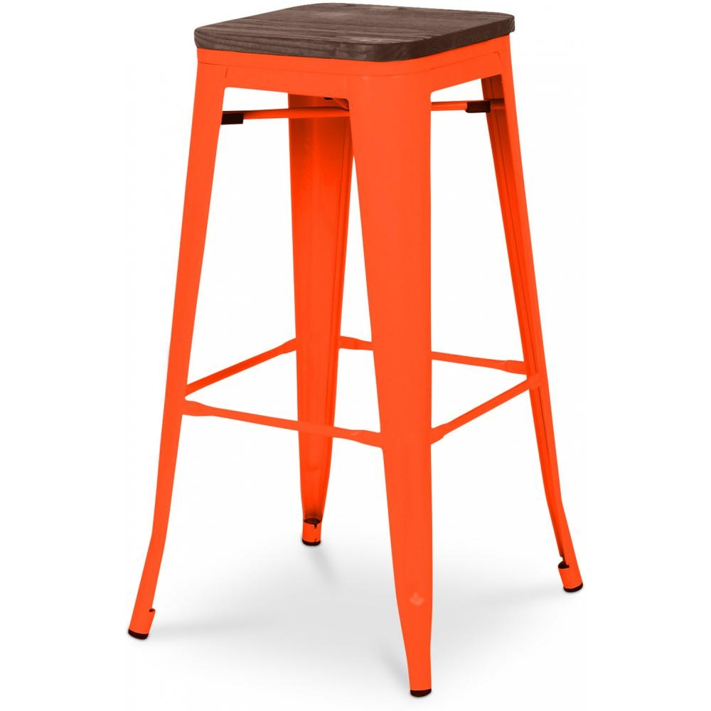 tabouret metal brillant orange assise bois h 76 industriel. Black Bedroom Furniture Sets. Home Design Ideas