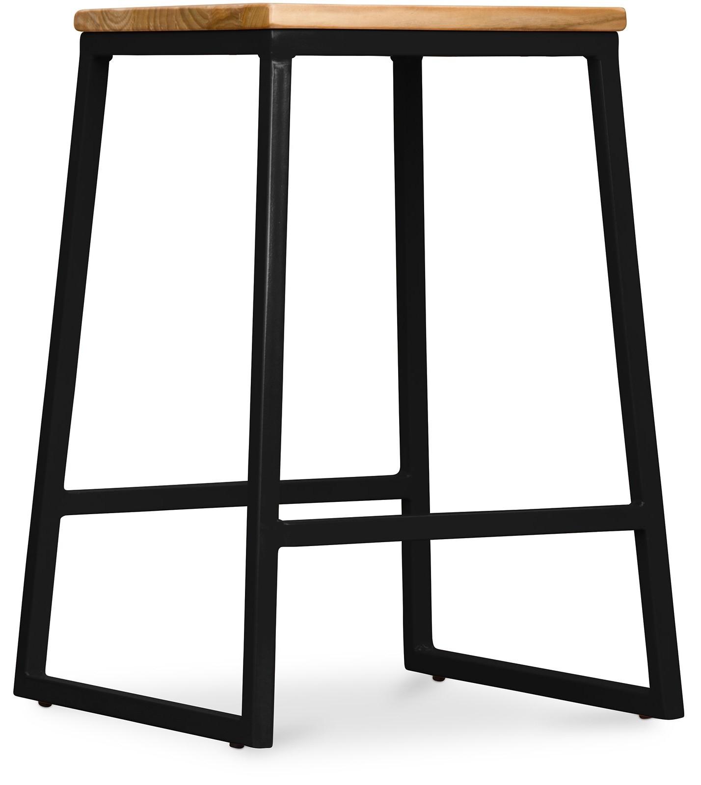 tabouret m tal noir et assise bois clair big boy. Black Bedroom Furniture Sets. Home Design Ideas
