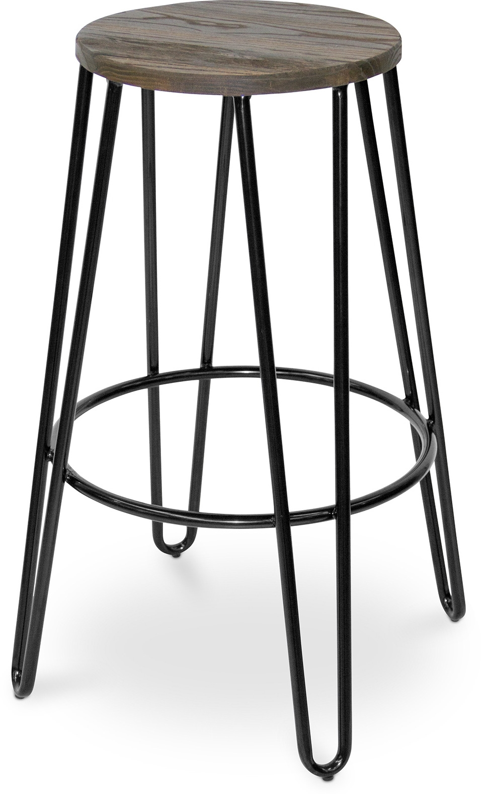 tabouret m tal noir et assise bois fonc coffee. Black Bedroom Furniture Sets. Home Design Ideas