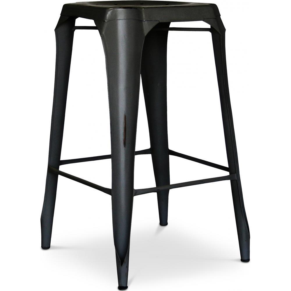 tabouret de bar acier assise perfor e h 75 mutipli couleur noir. Black Bedroom Furniture Sets. Home Design Ideas
