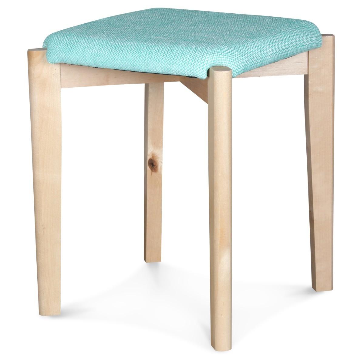 tabouret bas scandinave naturel tissu bleu oc an karin. Black Bedroom Furniture Sets. Home Design Ideas