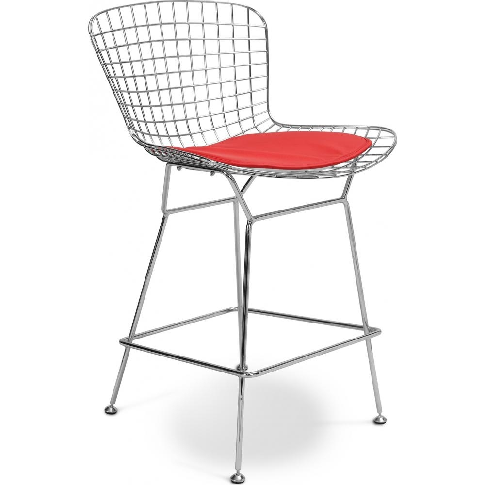 Chaise haute m tal assise cuir rouge toupie for Chaise 65 cm assise