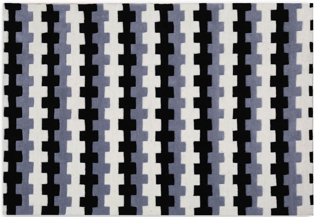 Tapis Moderne En Fibre Acrylique Noir Gris Blanc Orelia 200x140 Cm
