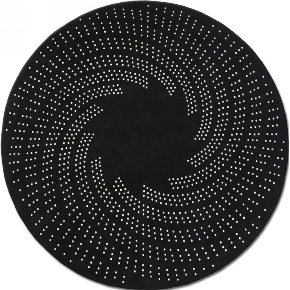 tapis rond laine noir et blanc rug round l d 250 cm. Black Bedroom Furniture Sets. Home Design Ideas