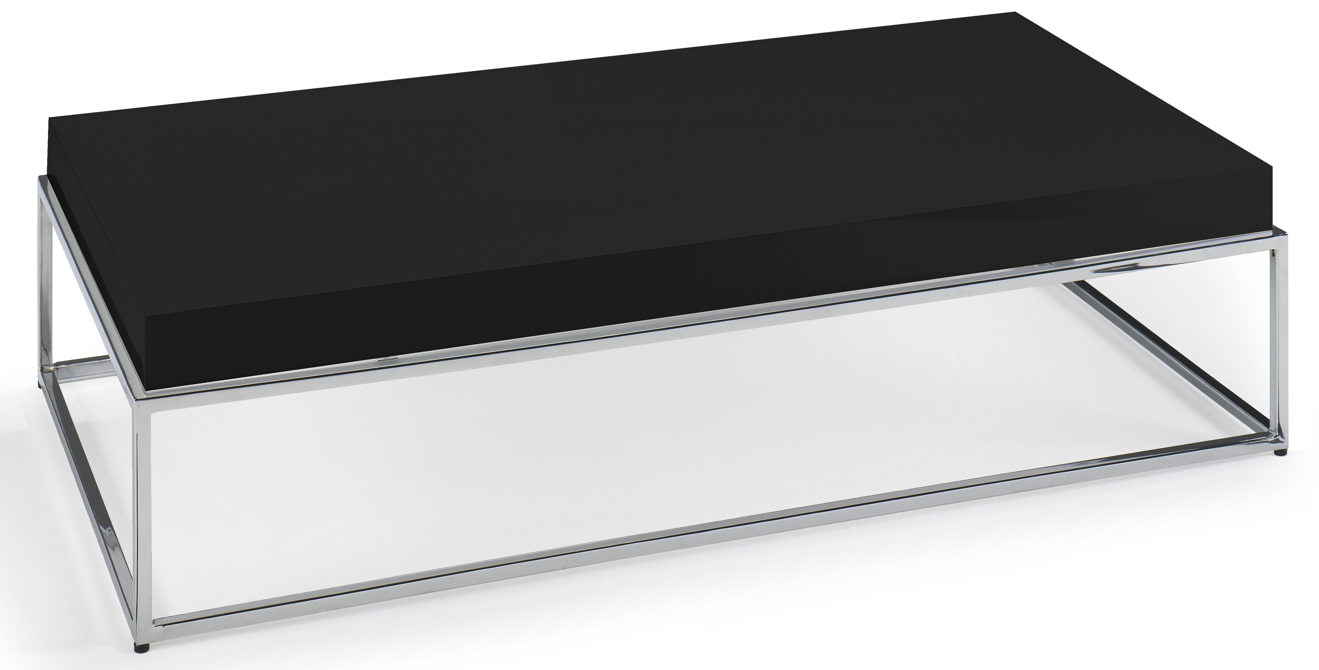 Table basse rectangulaire laqu e noir et acier inoxydable - Table basse acier noir ...