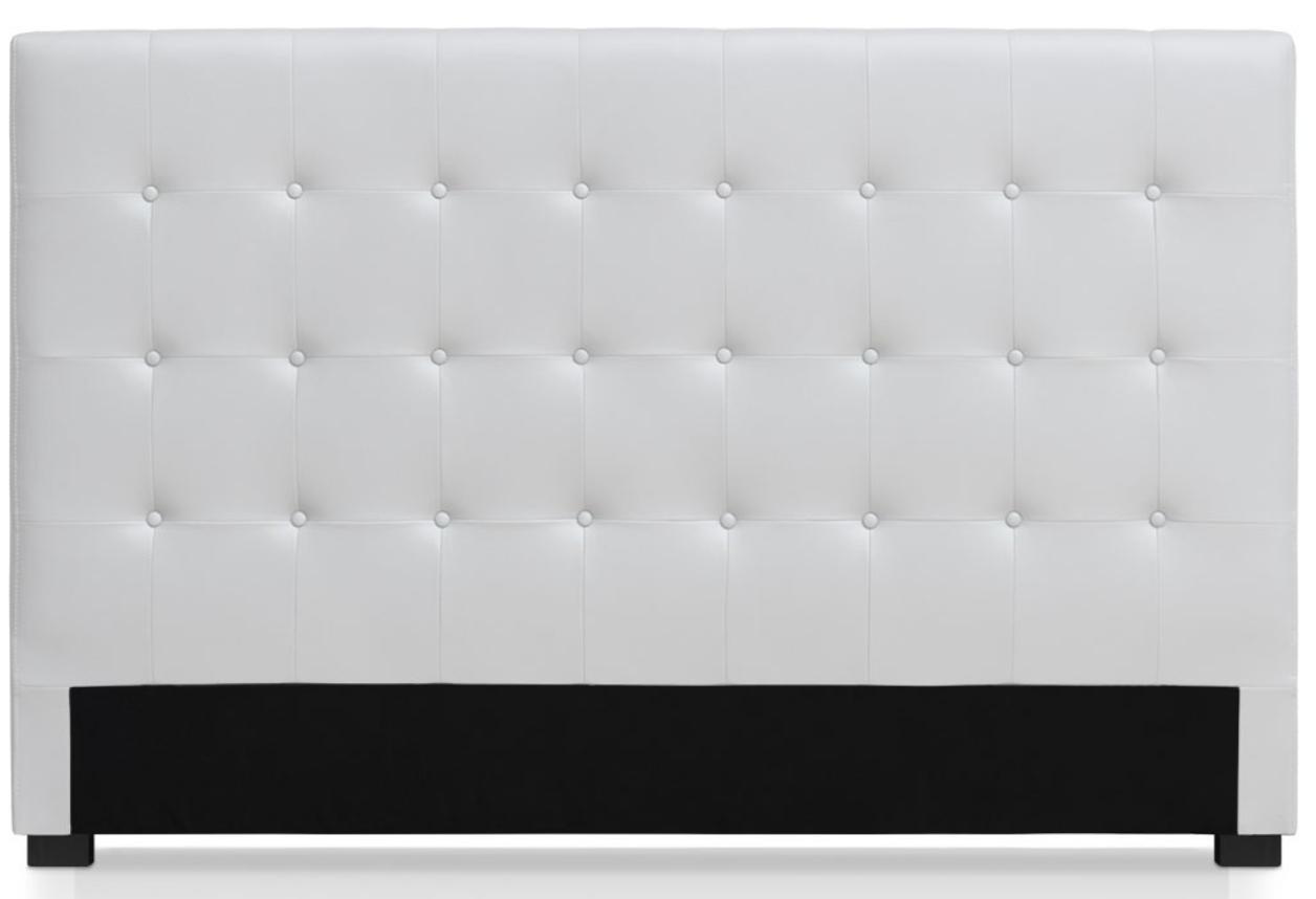 t te de lit capitonn e simili cuir blanc milan 180. Black Bedroom Furniture Sets. Home Design Ideas