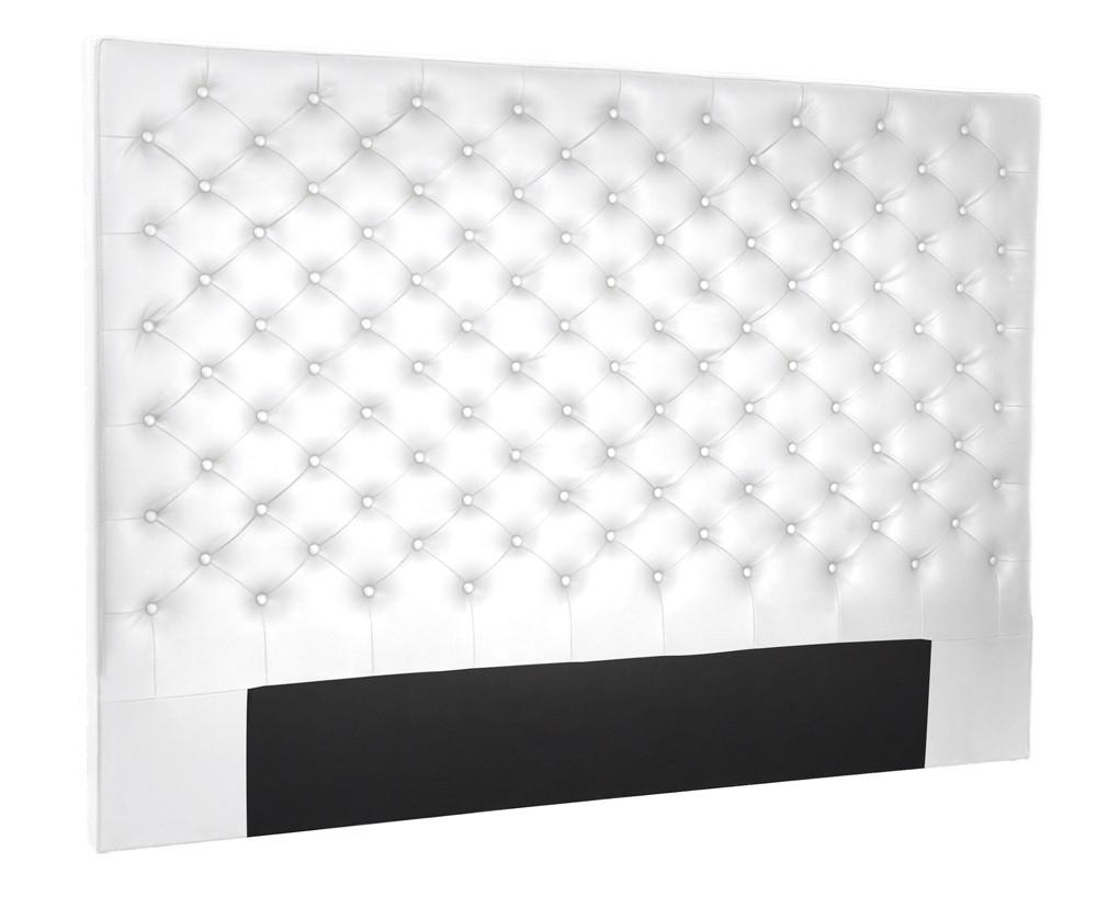 t te de lit chesterfield simili domia couleur blanc longueur 160 cm. Black Bedroom Furniture Sets. Home Design Ideas