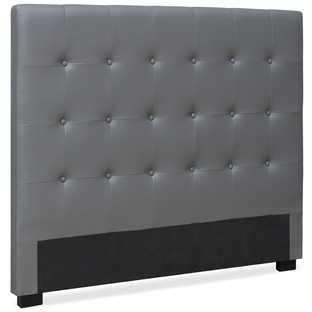 t te de lit capitonn e simili cuir gris milan 140. Black Bedroom Furniture Sets. Home Design Ideas