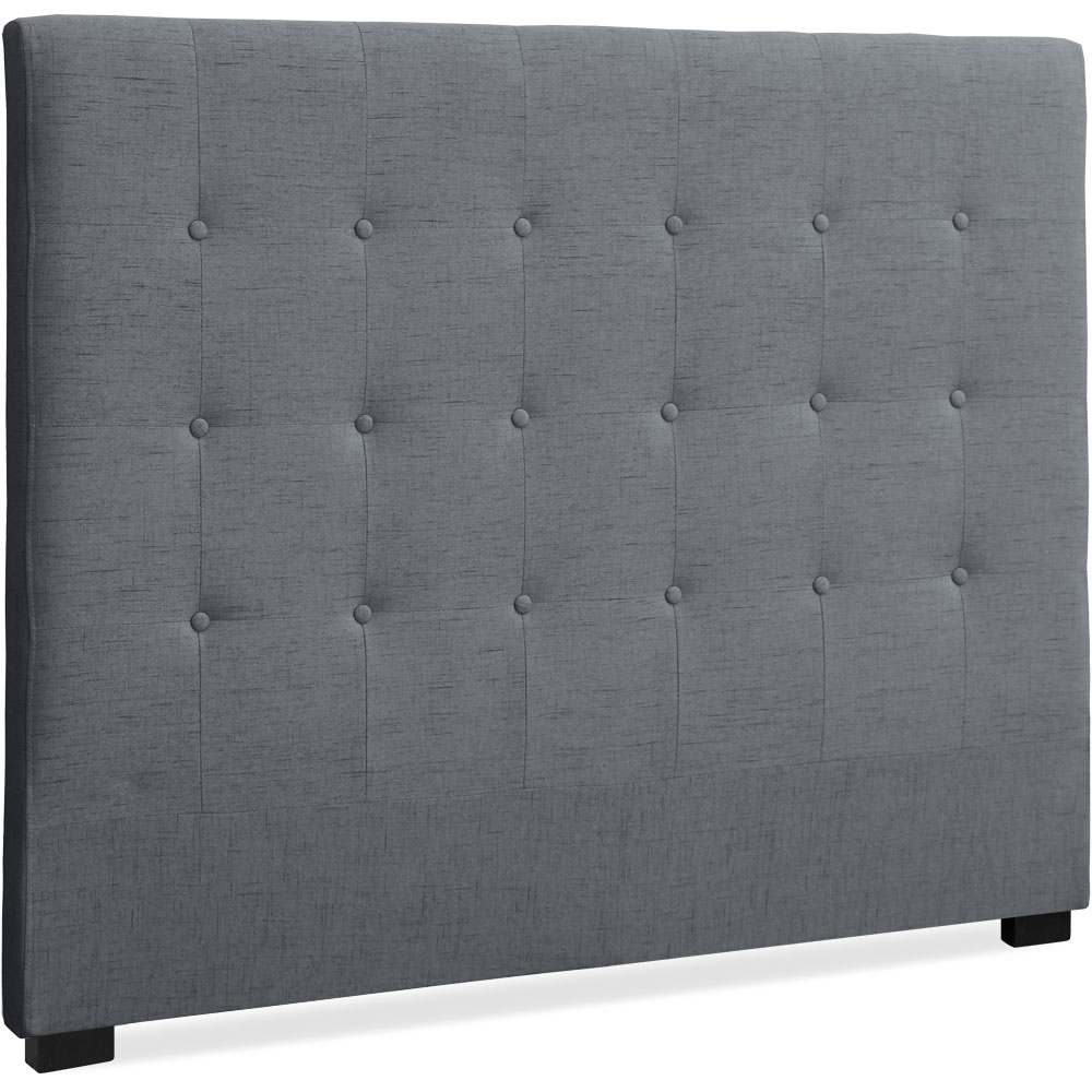 t te de lit capitonn e tissu gris 140 luxa. Black Bedroom Furniture Sets. Home Design Ideas