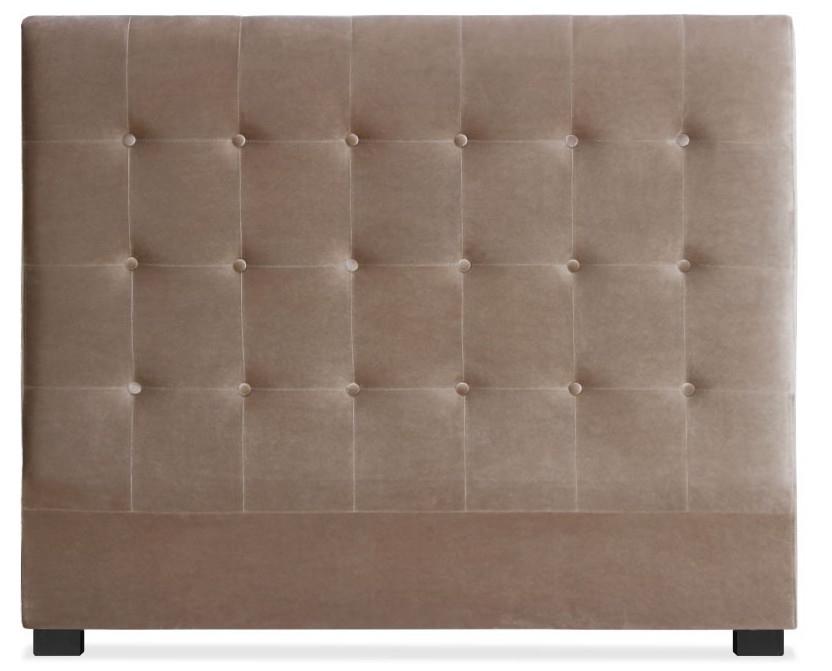 les tendances t te de lit capitonn e velours taupe 140 luxa. Black Bedroom Furniture Sets. Home Design Ideas