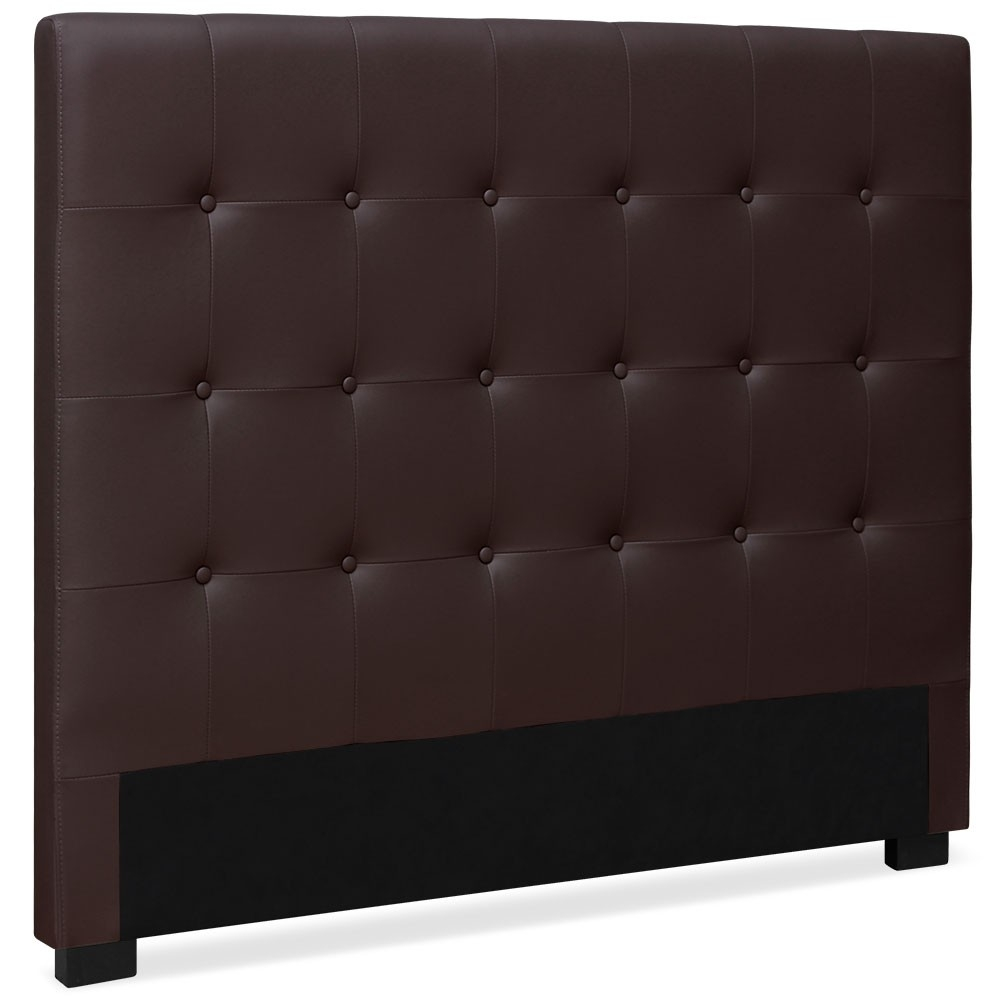 t te de lit capitonn e simili cuir marron milan 160. Black Bedroom Furniture Sets. Home Design Ideas