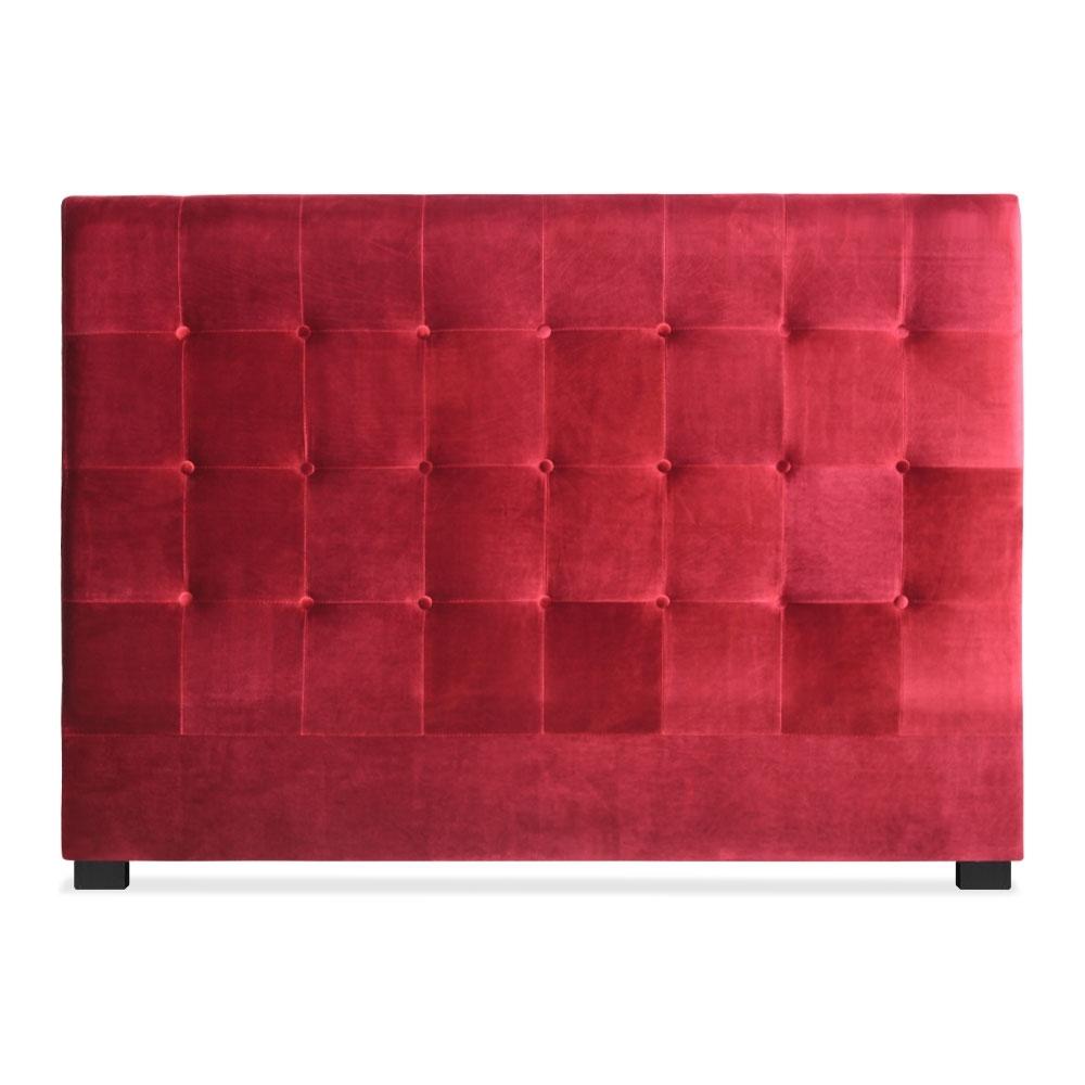 t te de lit capitonn e velours rouge 160 luxa. Black Bedroom Furniture Sets. Home Design Ideas