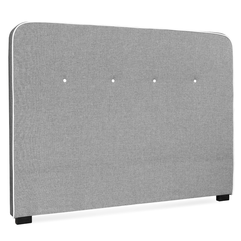 t te de lit tissu gris liser blanc gora 160. Black Bedroom Furniture Sets. Home Design Ideas