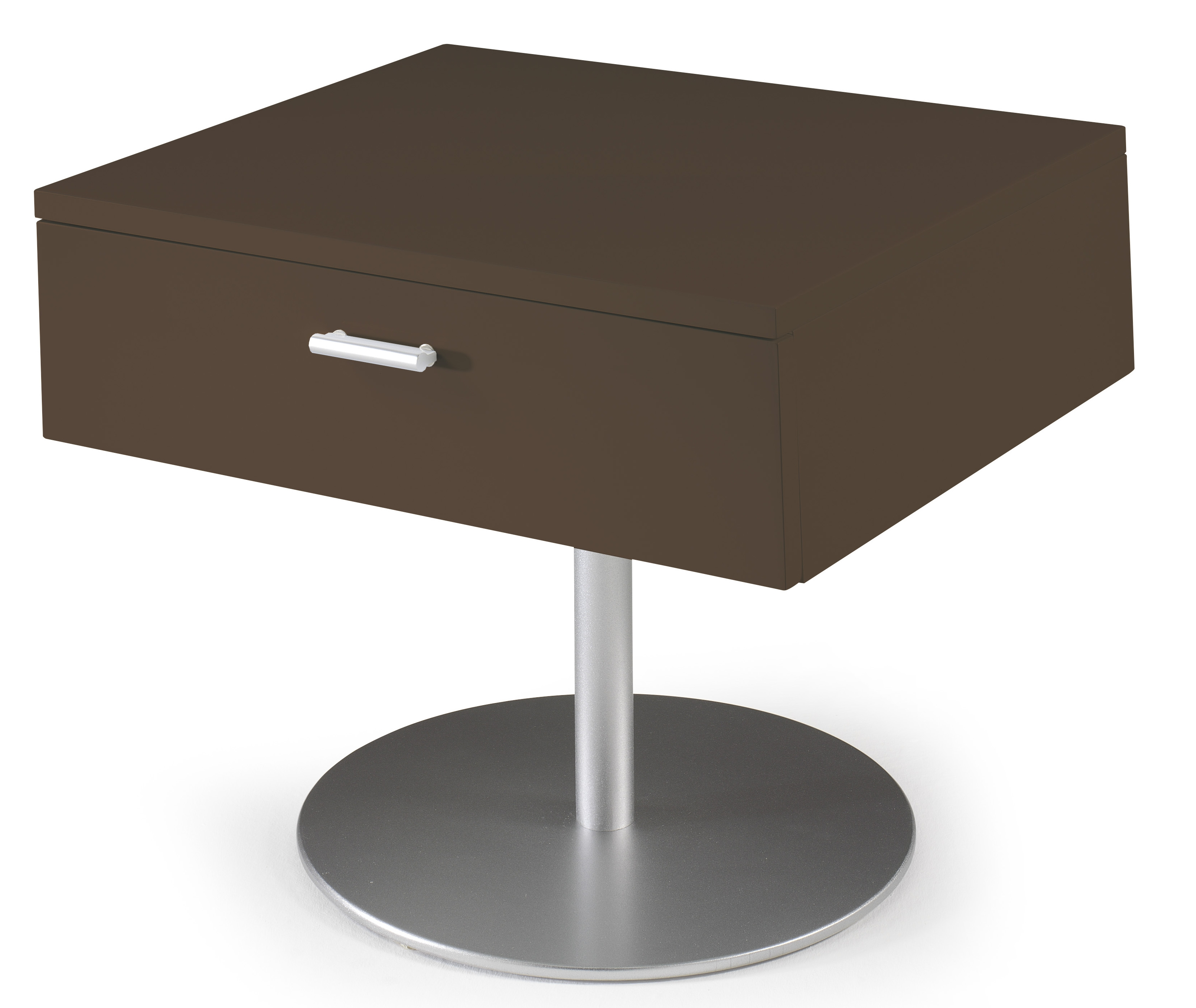 table de chevet design marron laqu kara. Black Bedroom Furniture Sets. Home Design Ideas