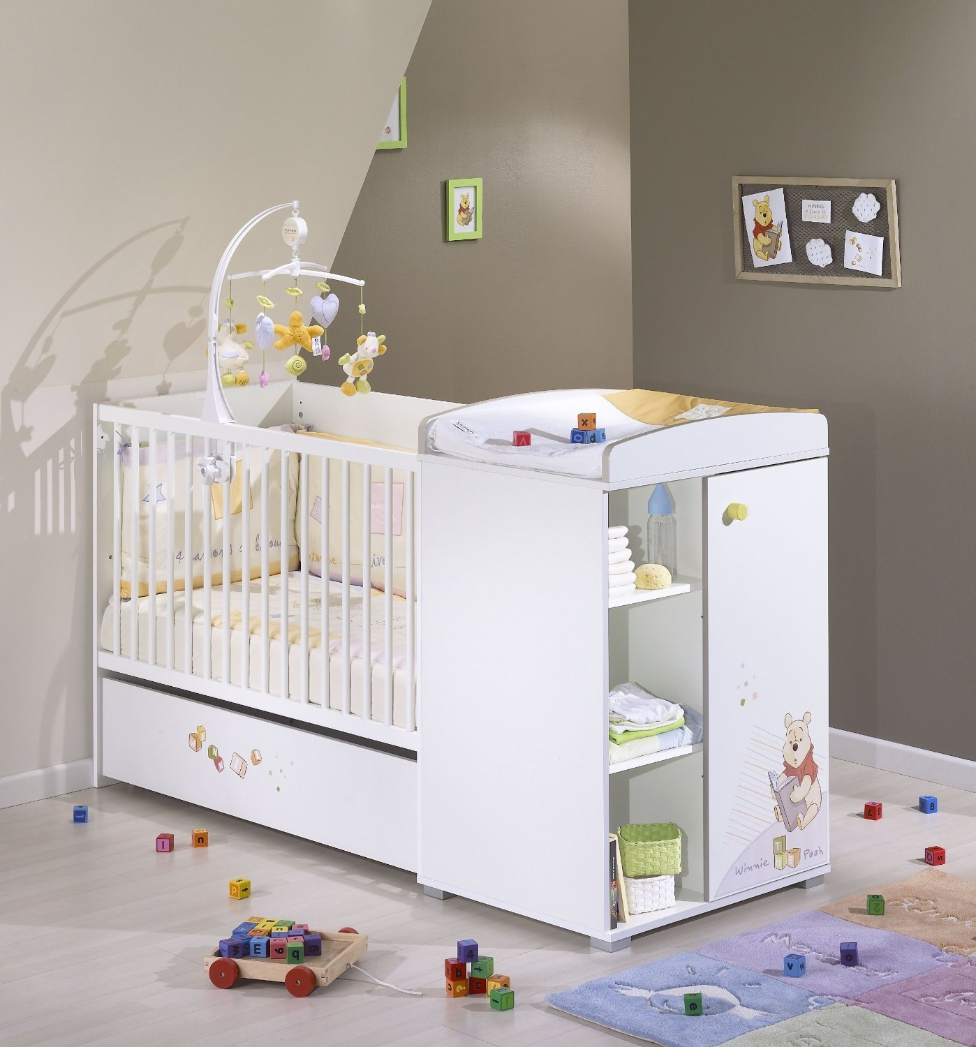 Cool tiroir pour lit chambre winnie discovery sauthon with for Chambre bb volutive