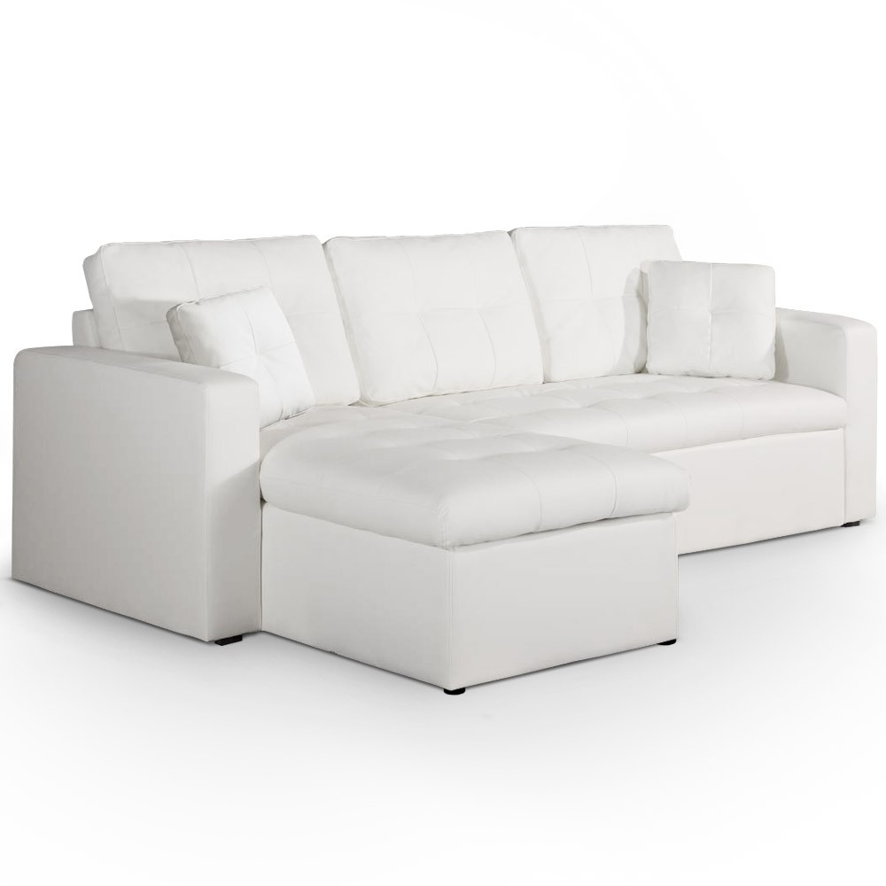 canap d 39 angle convertible simili cuir blanc cuba. Black Bedroom Furniture Sets. Home Design Ideas
