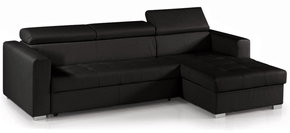 canap d 39 angle convertible avec t ti res simili cuir noir. Black Bedroom Furniture Sets. Home Design Ideas