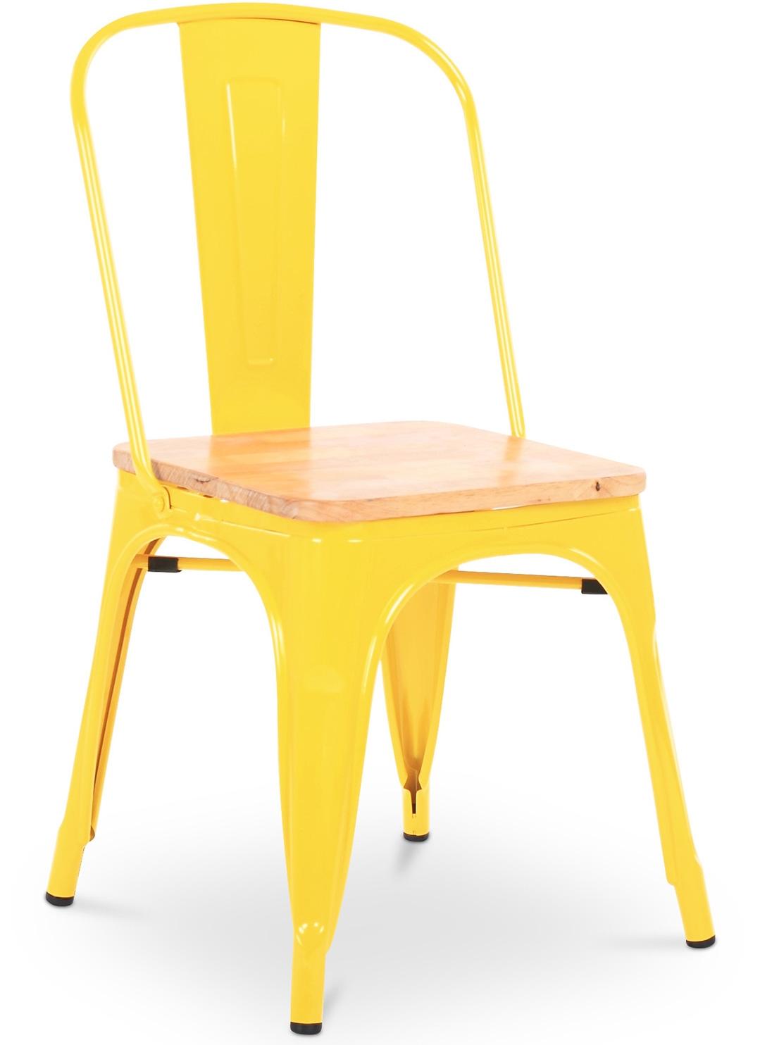 Chaise m tal jaune assise bois clair industriel for Chaise hauteur assise 48