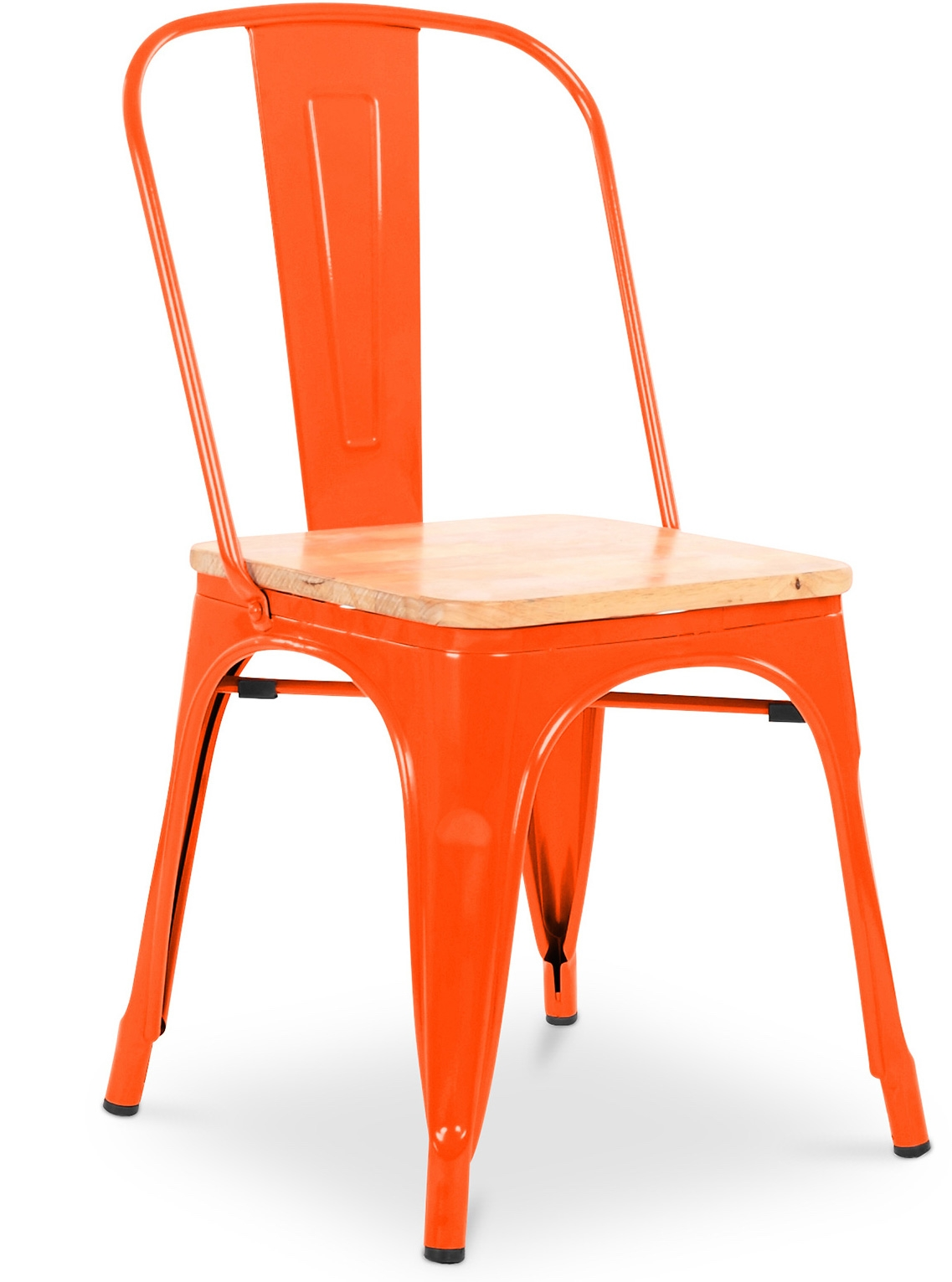 Chaise Métal Orange assise Bois clair Industriel LesTendances fr # Chaise Tolix Assise Bois