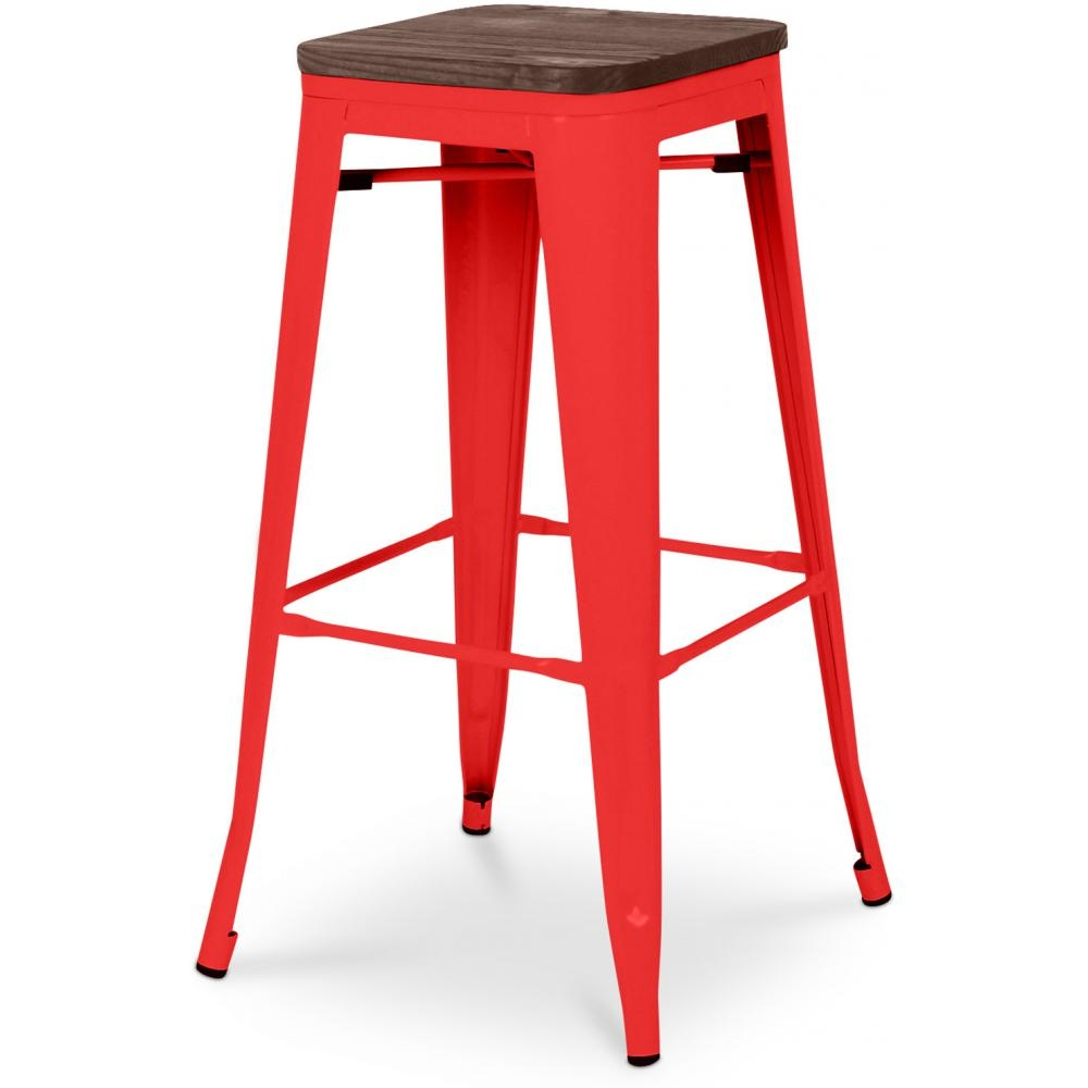 tabouret de bar acier rouge assise bois h 76 mutipli. Black Bedroom Furniture Sets. Home Design Ideas