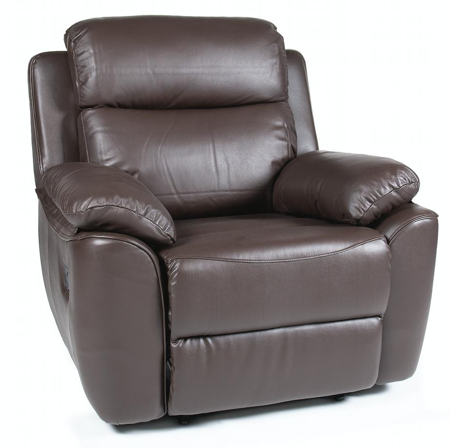 fauteuil de relaxation manuel cuir marron brak. Black Bedroom Furniture Sets. Home Design Ideas