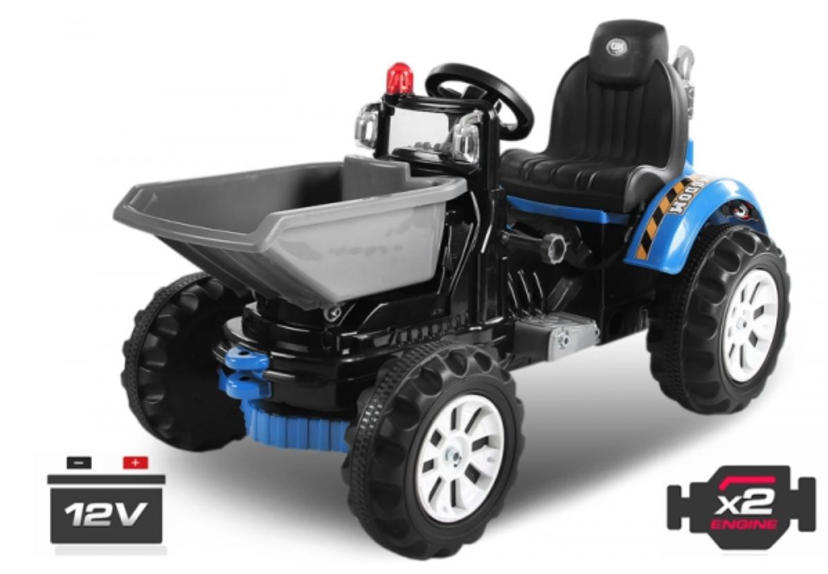 tracteur lectrique bleu avec godet 2 x 30w. Black Bedroom Furniture Sets. Home Design Ideas