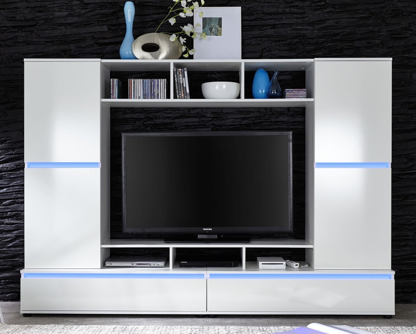 meuble tv laqu blanc led milo. Black Bedroom Furniture Sets. Home Design Ideas