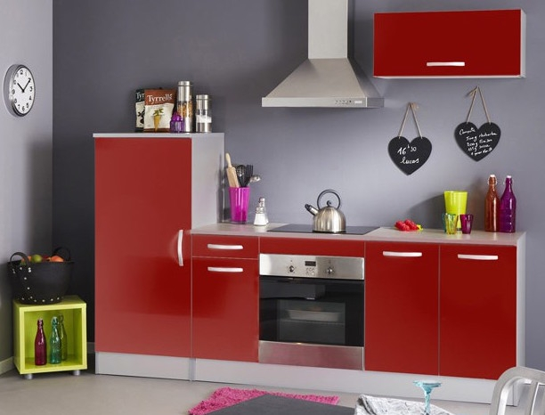 ensemble de cuisine rouge laqu bea. Black Bedroom Furniture Sets. Home Design Ideas