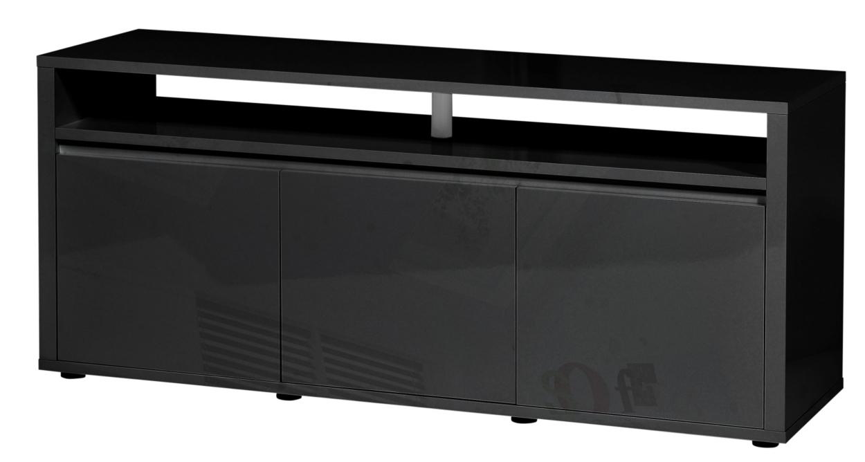 meuble tv laqu noir 3 portes city. Black Bedroom Furniture Sets. Home Design Ideas