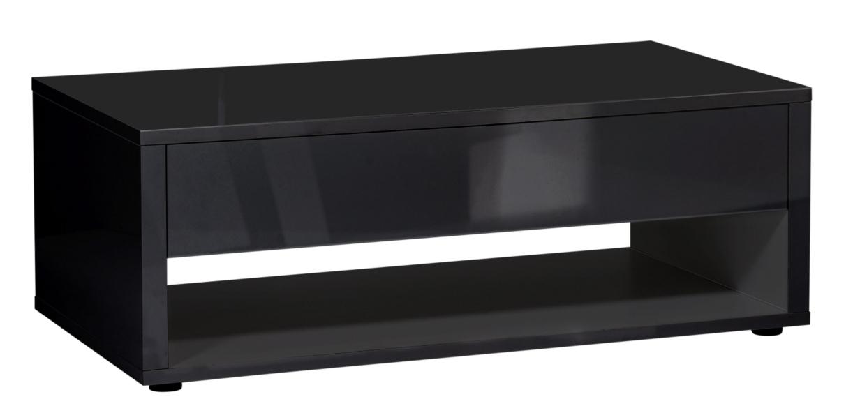 Table basse rectangulaire laqu noir 1 tiroir city - Table basse rectangulaire noire ...