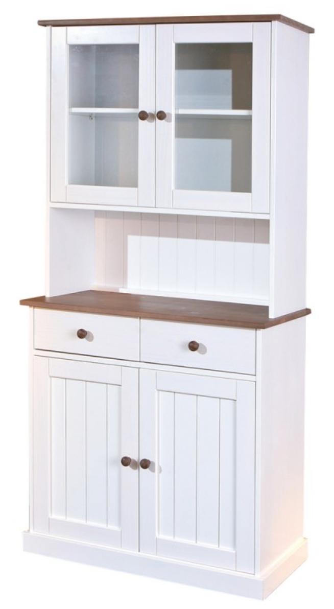 vaisselier 4 portes bois massif blanc et bois s pia brun. Black Bedroom Furniture Sets. Home Design Ideas