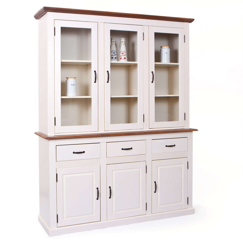 vaisselier 6 portes 3 tiroirs pin massif blanc et s pia. Black Bedroom Furniture Sets. Home Design Ideas