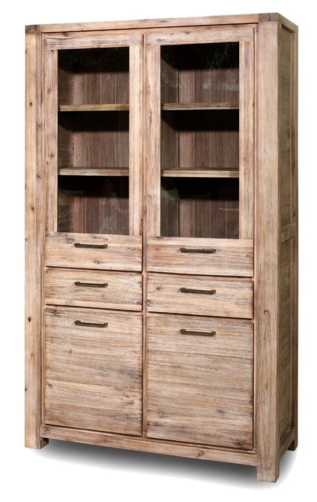vaisselier acacia 2 portes vitr es kollwood. Black Bedroom Furniture Sets. Home Design Ideas