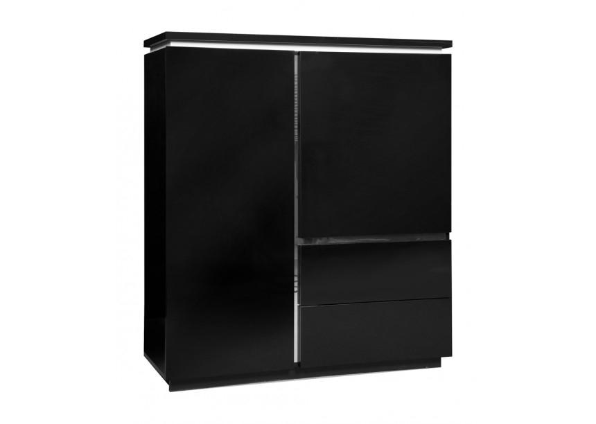 Vaisselier noir laqué avec éclairage Kela  LesTendancesfr -> Meuble Sejour Noir Laque Alfa