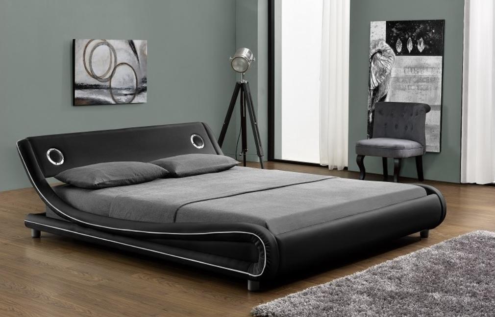 lit simili noir liser blanc 2 haut parleurs jaker 140. Black Bedroom Furniture Sets. Home Design Ideas