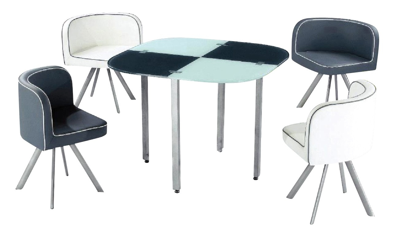 Ensemble table 4 chaises gris et blanc vichy - Ensemble chaise et table ...
