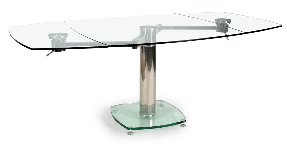 table carr e extensible verre transparent vidrion 112 200. Black Bedroom Furniture Sets. Home Design Ideas
