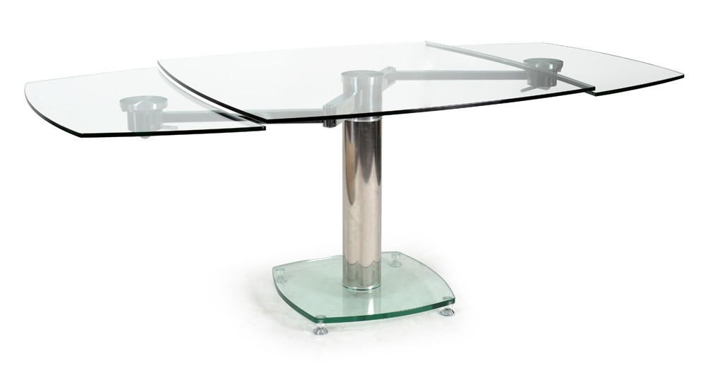 Table carr e avec allonges plateau verre transparent - Table sejour en verre ...