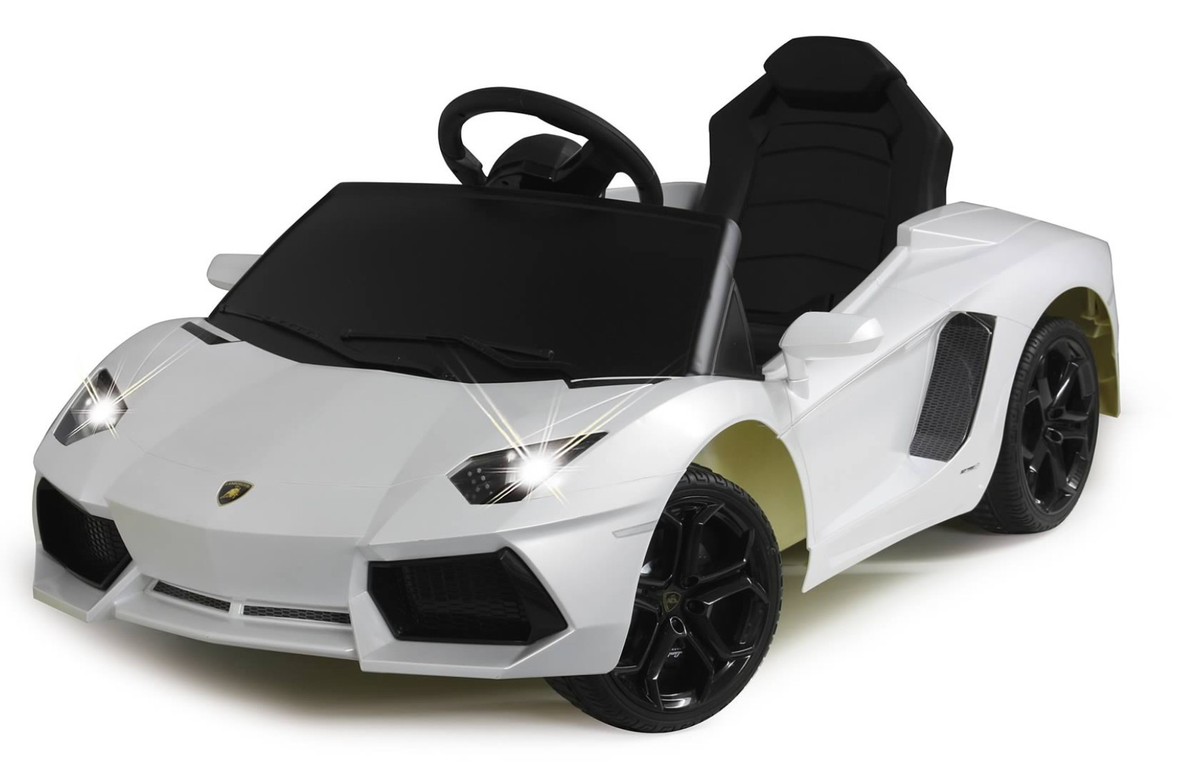 voiture lectrique lamborghini aventador blanche 2x25w 12v. Black Bedroom Furniture Sets. Home Design Ideas