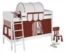 lit superpos blanc laqu et rideau marron 90x200 cm sans matelas tunnel sans tunnel etag re. Black Bedroom Furniture Sets. Home Design Ideas