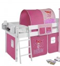 lit superpos blanc laqu et rideau rose 90x200 cm sans matelas tunnel sans tunnel etag re. Black Bedroom Furniture Sets. Home Design Ideas
