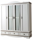 Armoire 4 portes blanc et naturel Country